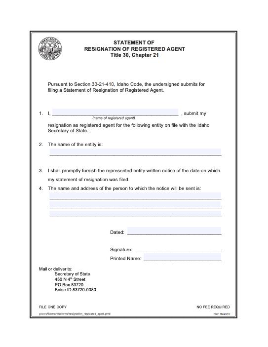 Idaho Statement of Resignation of Registered Agent
