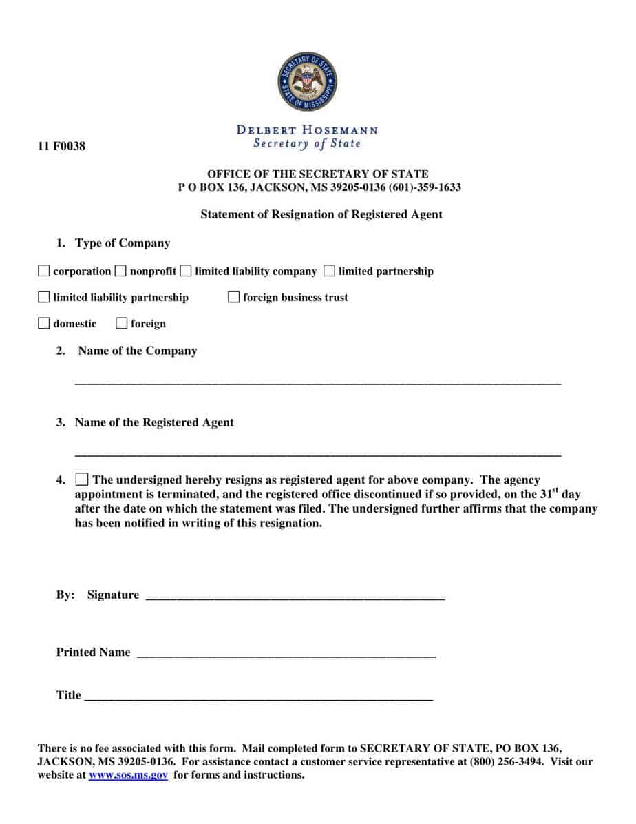 How To Resign As Registered Agent For A Missouri Llc Orcorporation