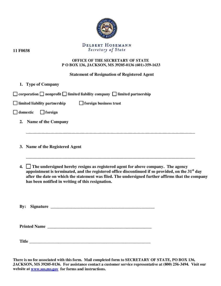 Mississippi Resignation of Agent