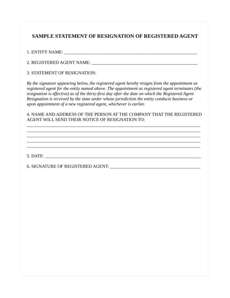 How To Resign As Registered Agent For A Oregon Llc Orcorporation