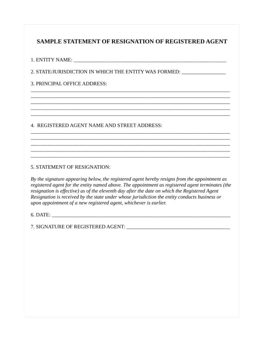 How To Resign As Resident Agent For Maryland Llc Or Corporation
