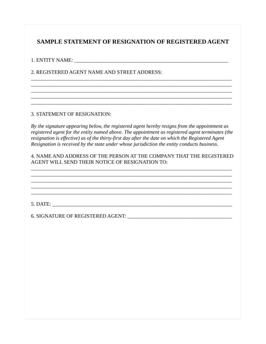 How To Resign As Registered Agent For Nebraska Llc Or Corporation