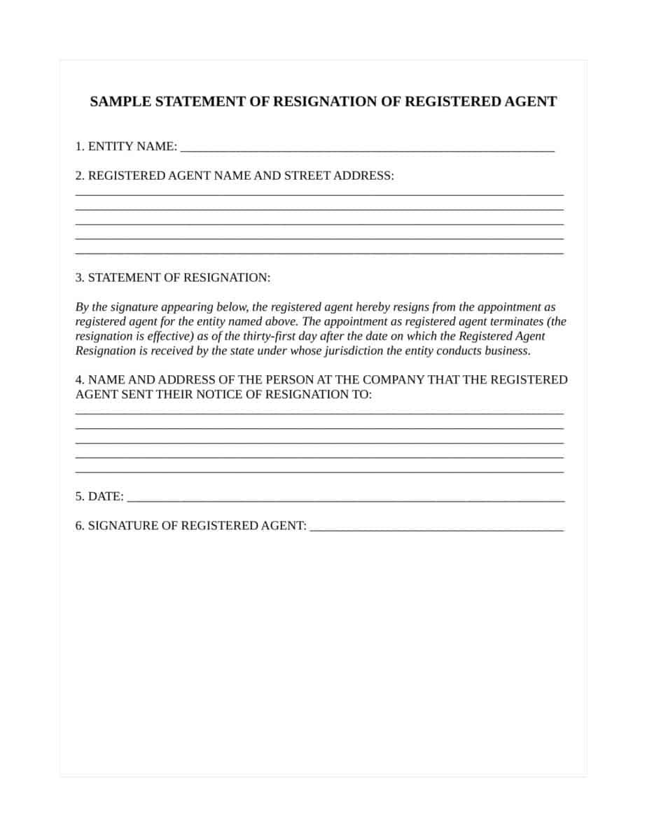 Minnesota Resignation of Registered Agent