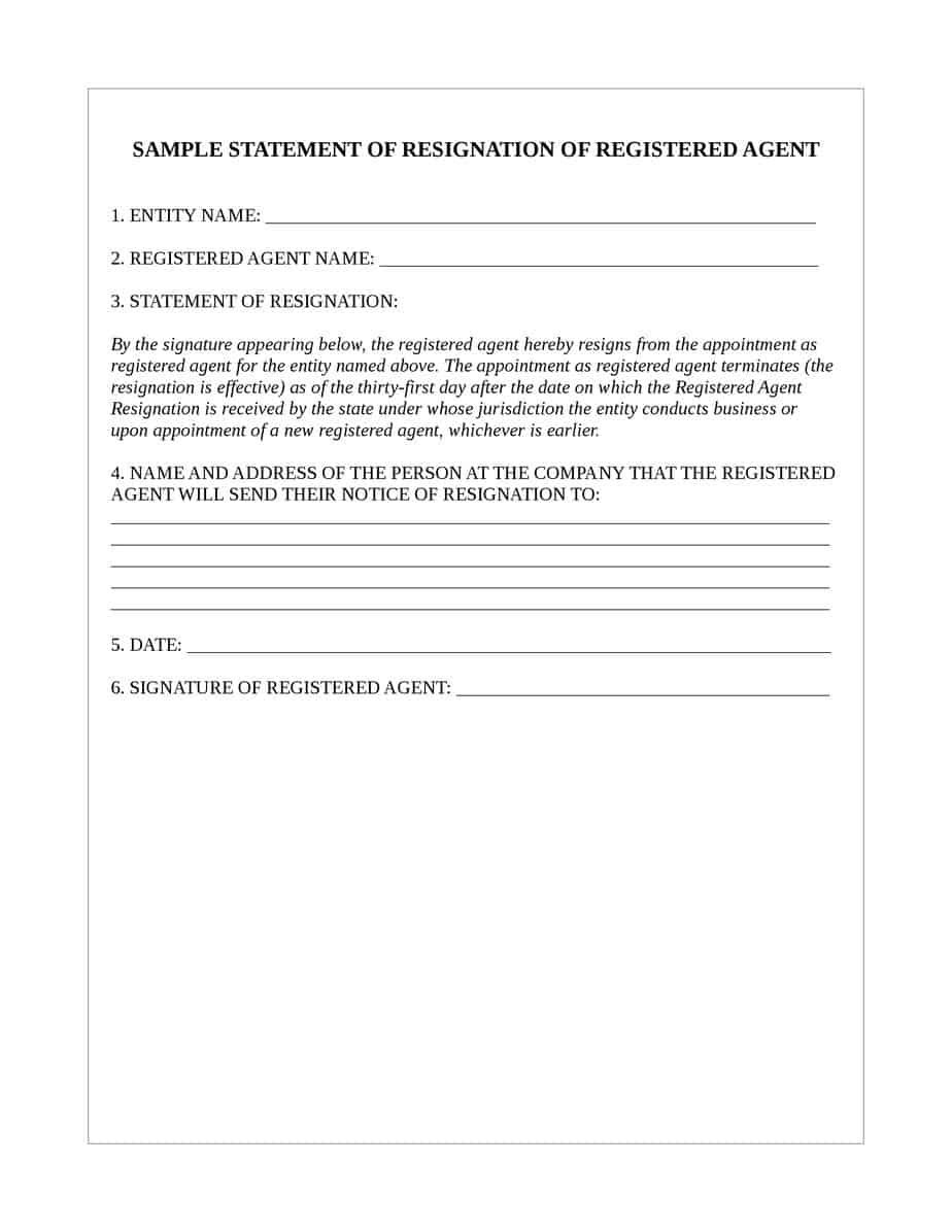 Resignation of Registered Agent - Sample Form