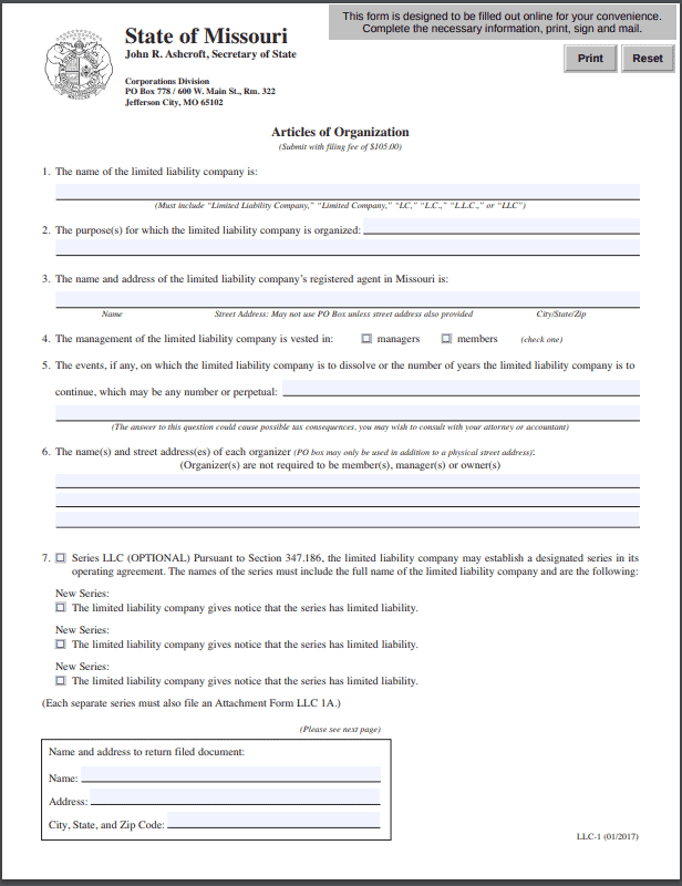 Missouri LLC - Missouri Limited Liability Company