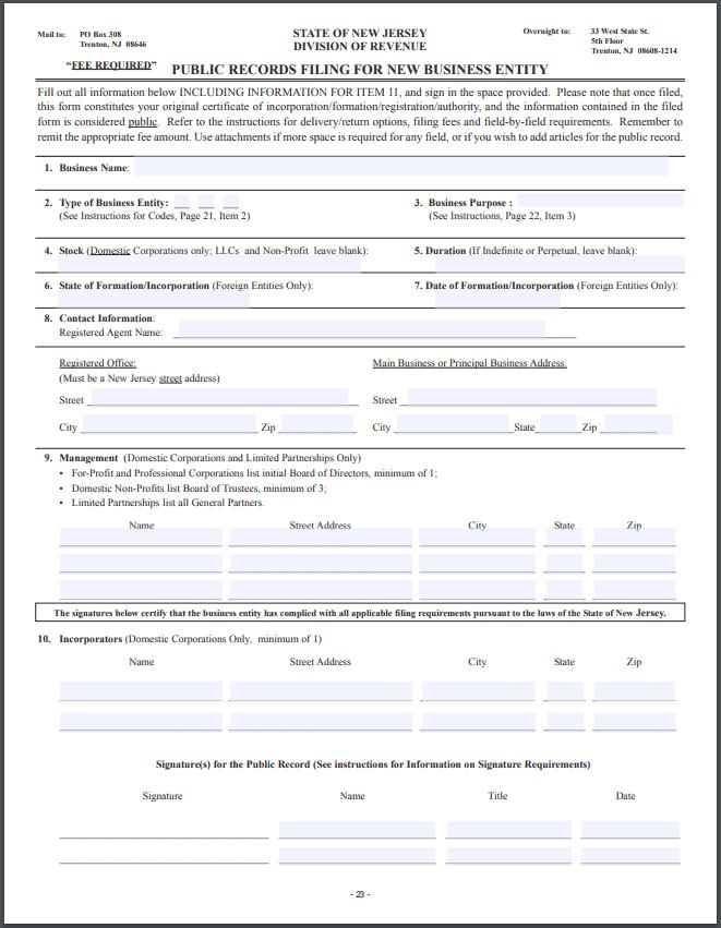 New Jersey LLC – New Jersey Limited Liability Company