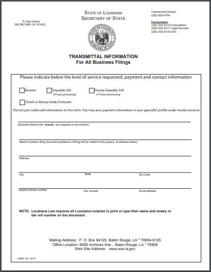 Louisiana LLC Articles of Organization