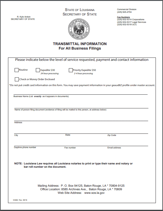 Louisiana Nonprofit Articles of Incorporation
