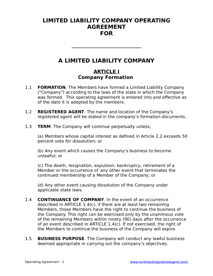 Free LLC Operating Agreement For A Limited Liability Company - Llp operating agreement template