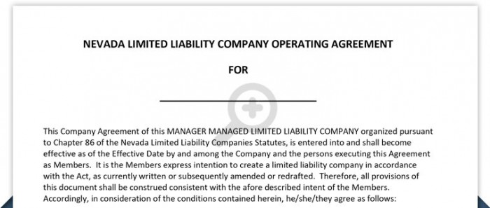 Nevada Llc Operating Agreement Free Template