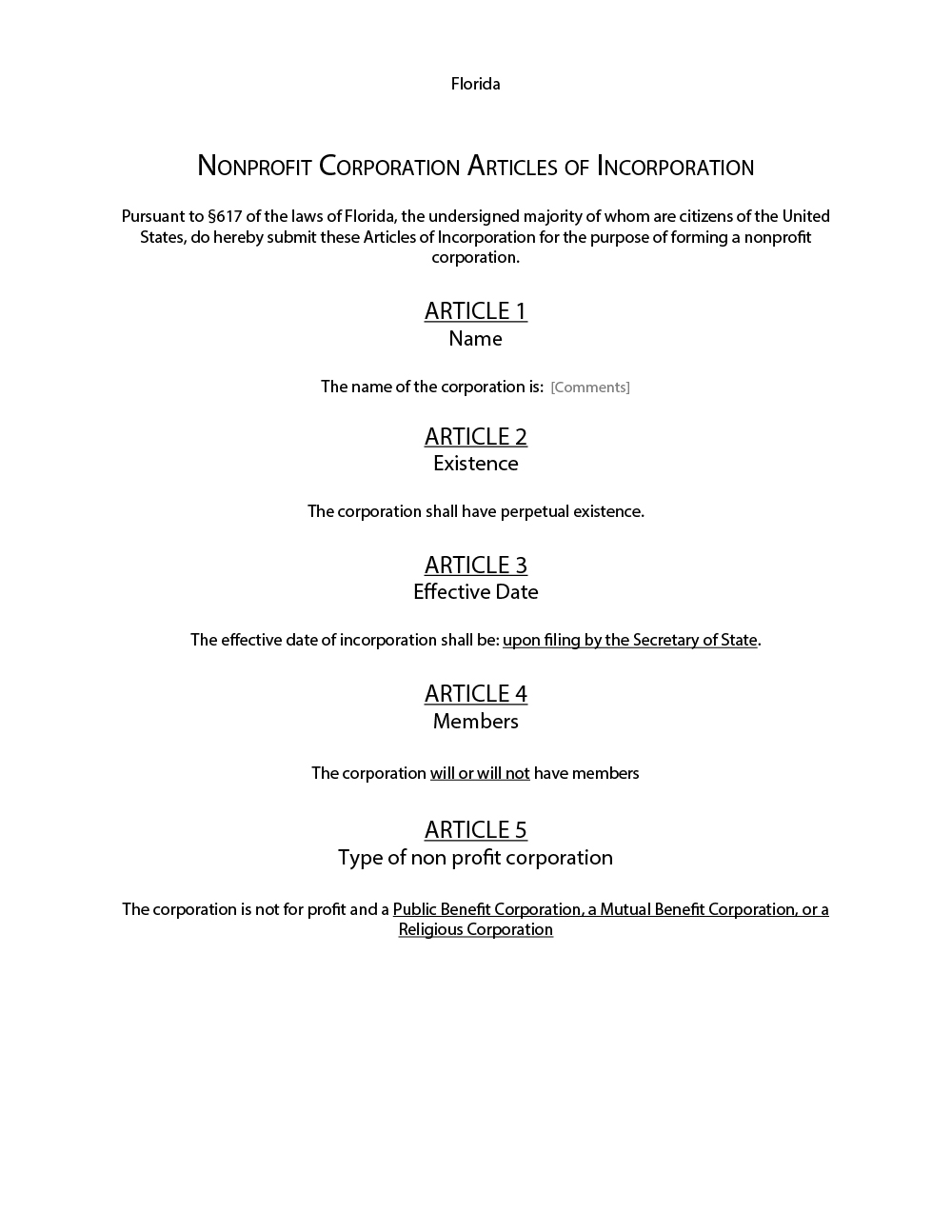 articles of incorporation free sample template form