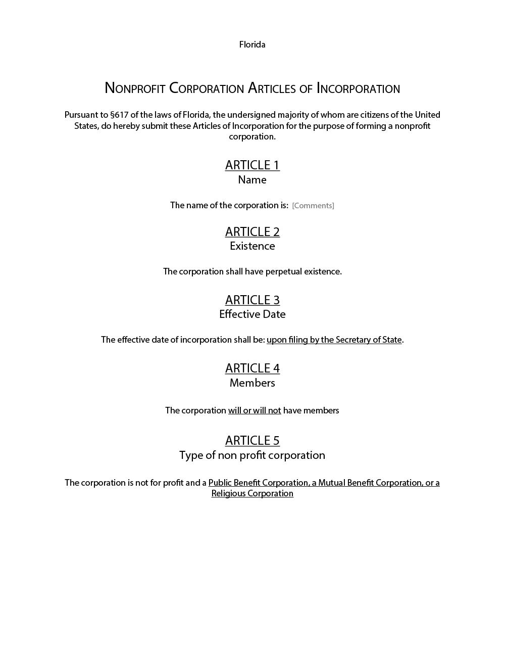 Free articles of incorporation washington state non profit.