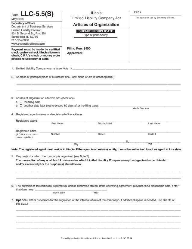 Illinois Series LLC Articles of Organization