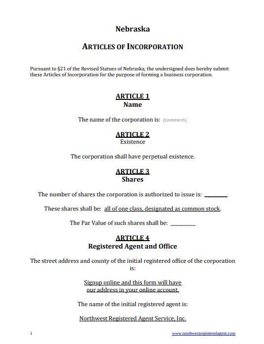 Nebraska Articles of Incorporation