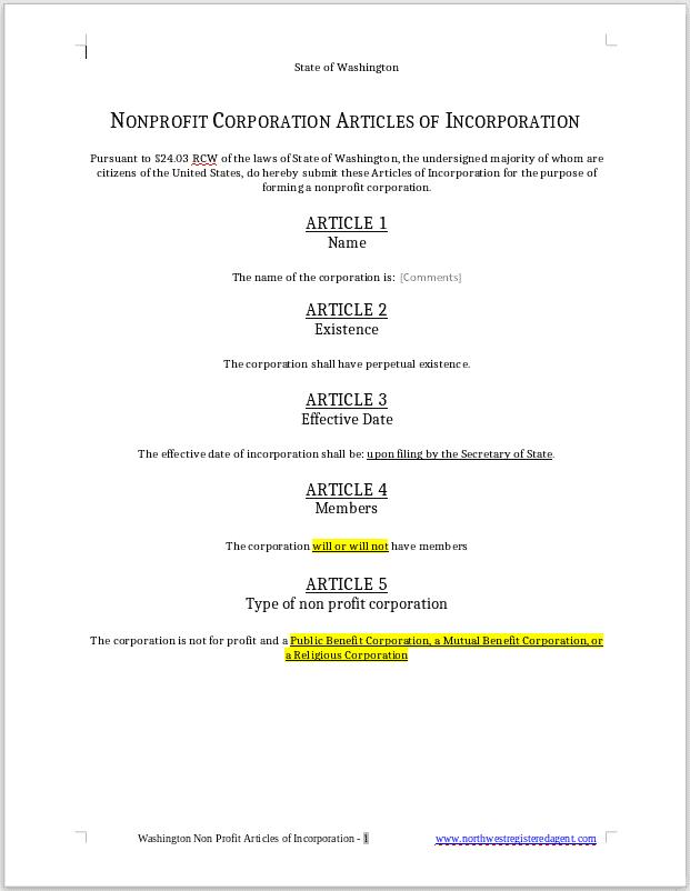 Washington Nonprofit Articles of Incorporation