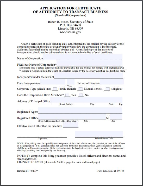 Nebraska Foreign Nonprofit Certificate of Authority