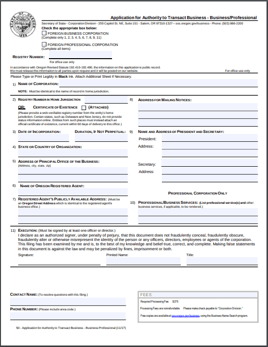 Oregon Foreign Corporation Application for Authority