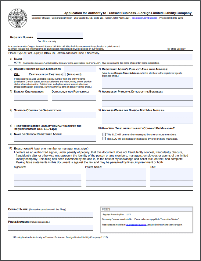 Oregon Foreign LLC Application for Authority