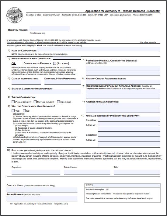 Oregon Foreign Nonprofit Application for Authority