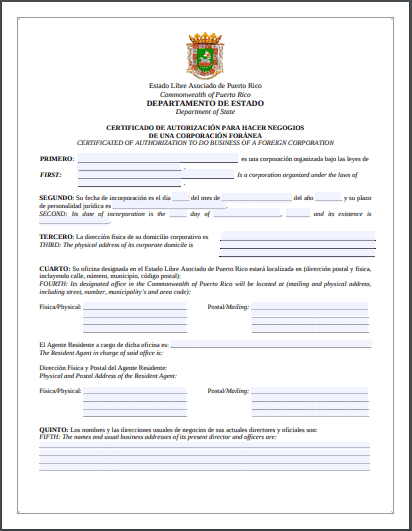 Puerto Rico Certificate of Authorization to do Business of a Foreign Corporation