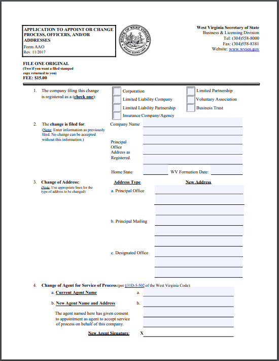 West Virginia Application to Appoint Or Change Process, Officers, and/or Addresses