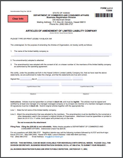 Hawaii LLC Articles of Amendment
