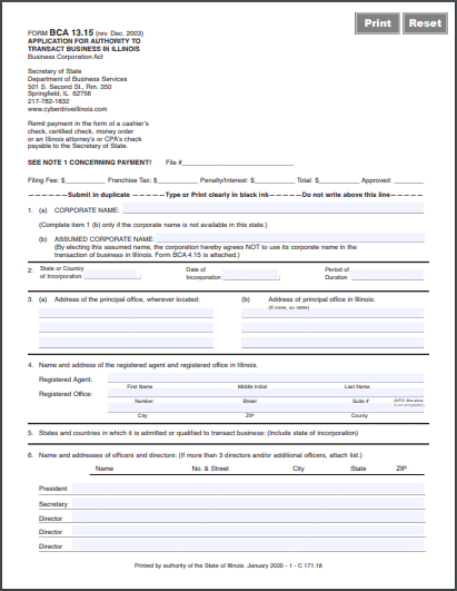Illinois Foreign Corporation Application for Authority