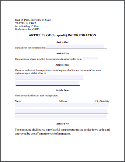 Iowa Articles of Incorporation Template