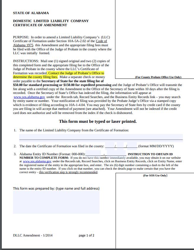 Alabama LLC Amendment Form