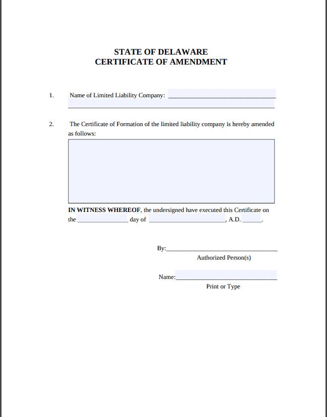 Delaware LLC Amendment