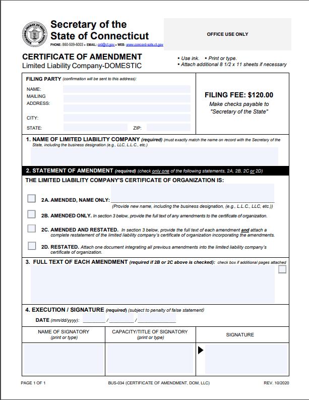 Connecticut LLC Amendment