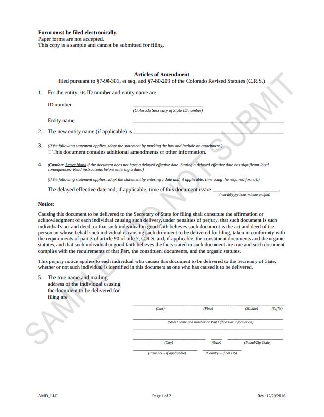 colorado llc amendment