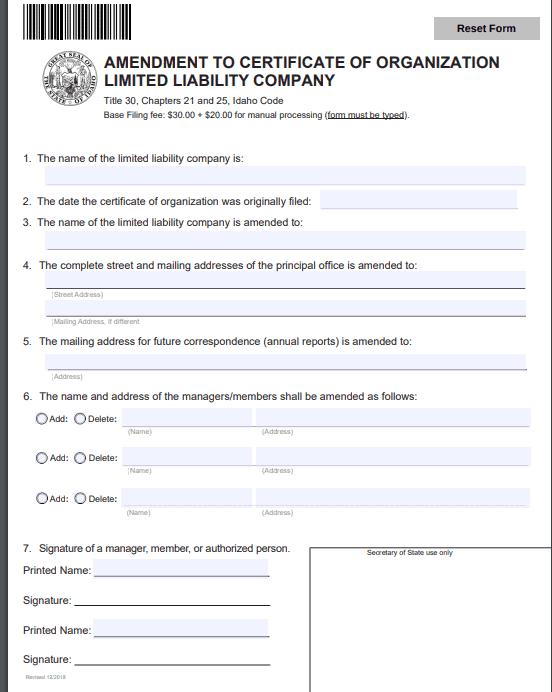Idaho LLC Amendment