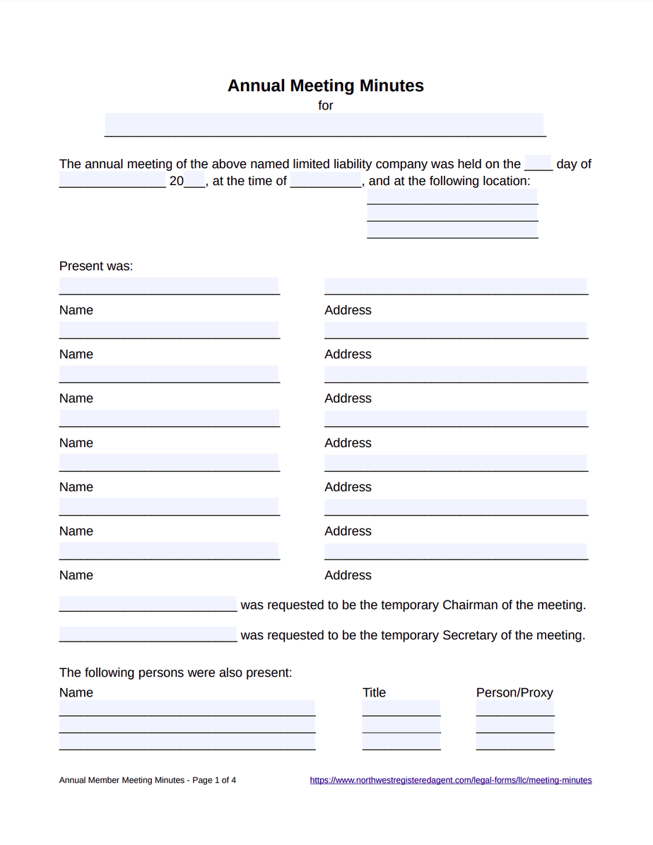 Annual Meeting Minutes Template for LLC - Free Download