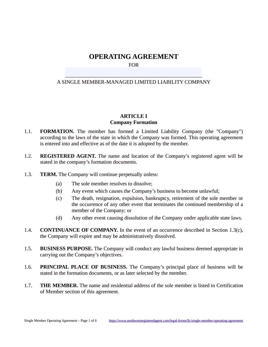 Single Member LLC Operating Agreement - Free Download