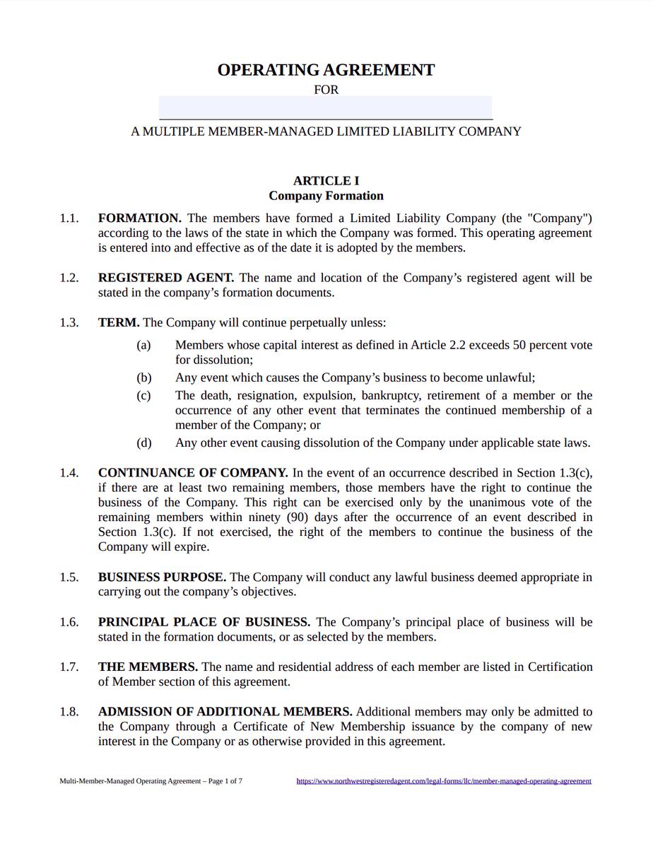 Multi-Member LLC Operating Agreement Template - Free Download