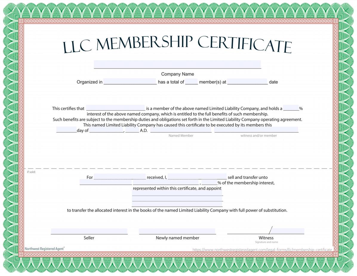LLC Membership Certificate Template - Free Download
