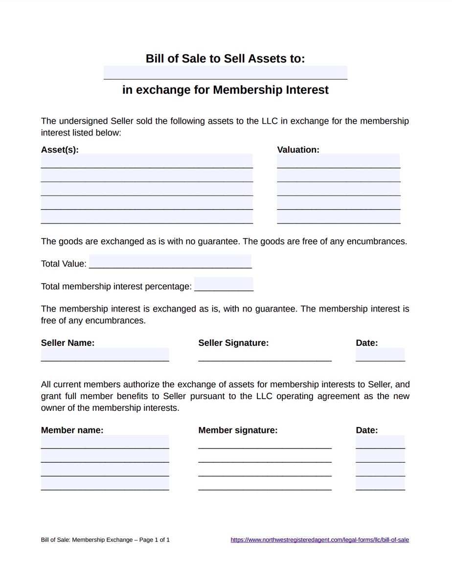 Bill of Sale Template for LLC Membership Interest - Free Download