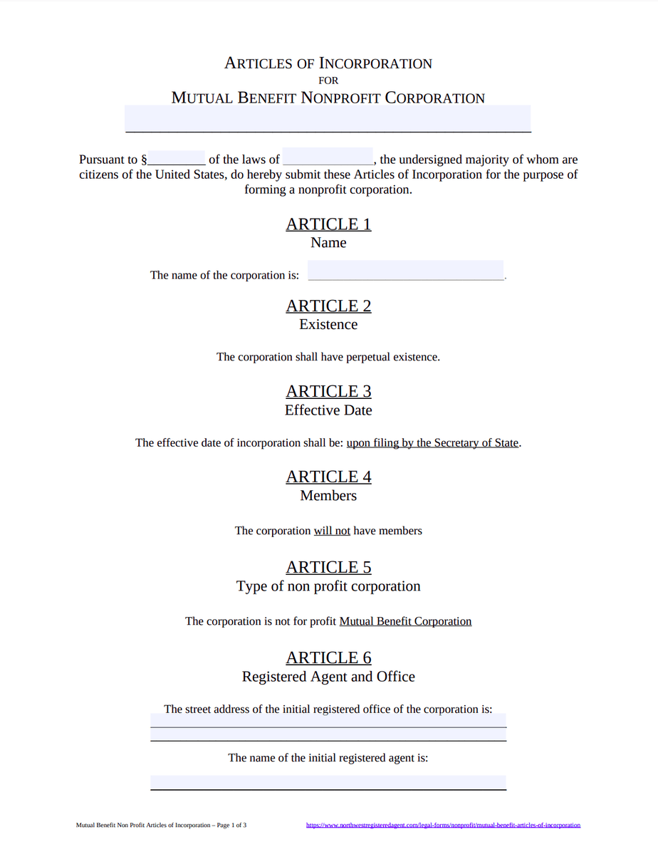 Mutual Benefit Articles of Incorporation Template - Free Download