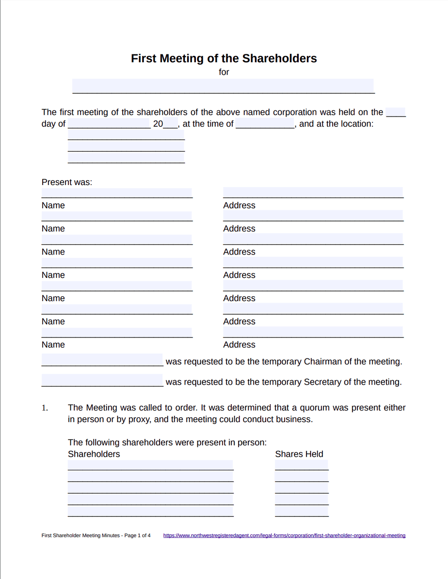 First Shareholder Meeting Minutes Template - Free Download
