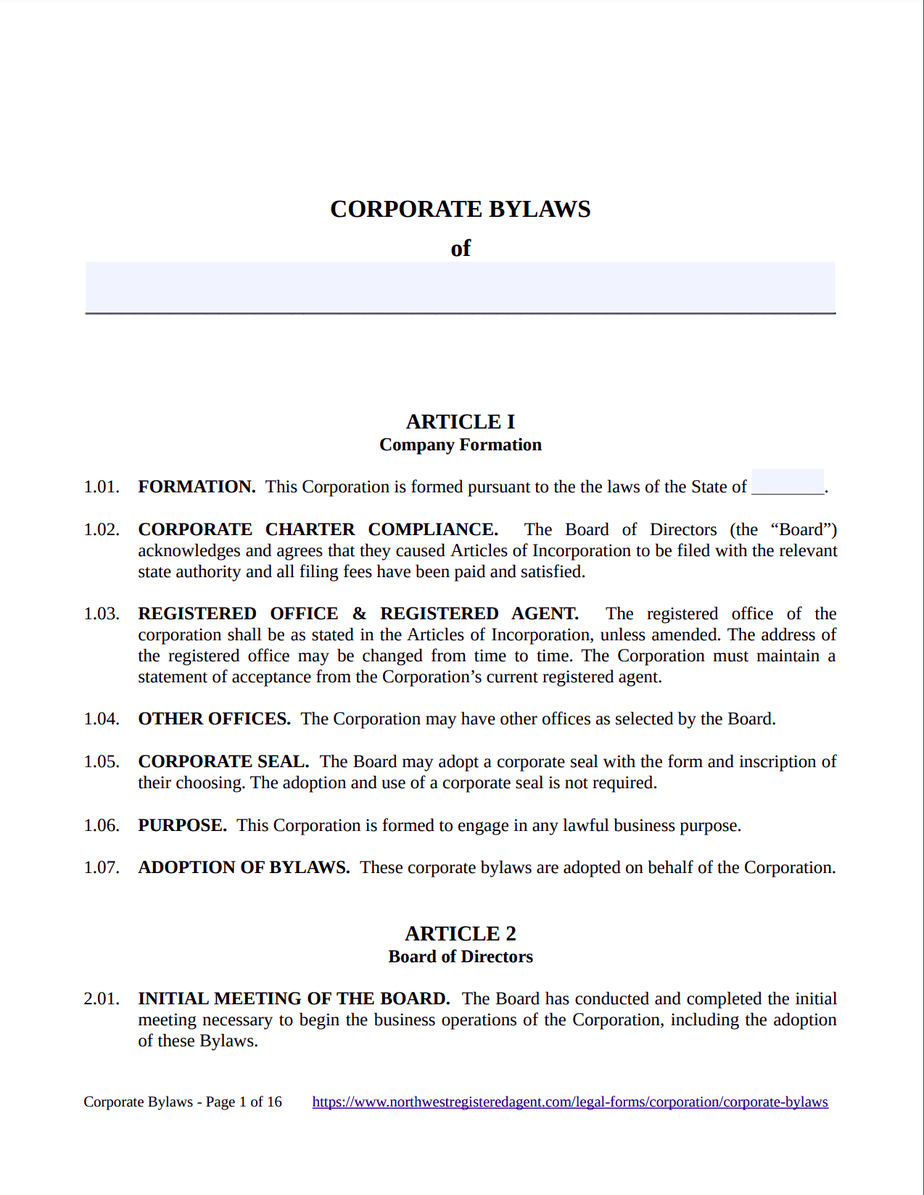 Corporate Bylaws Template - Free Download
