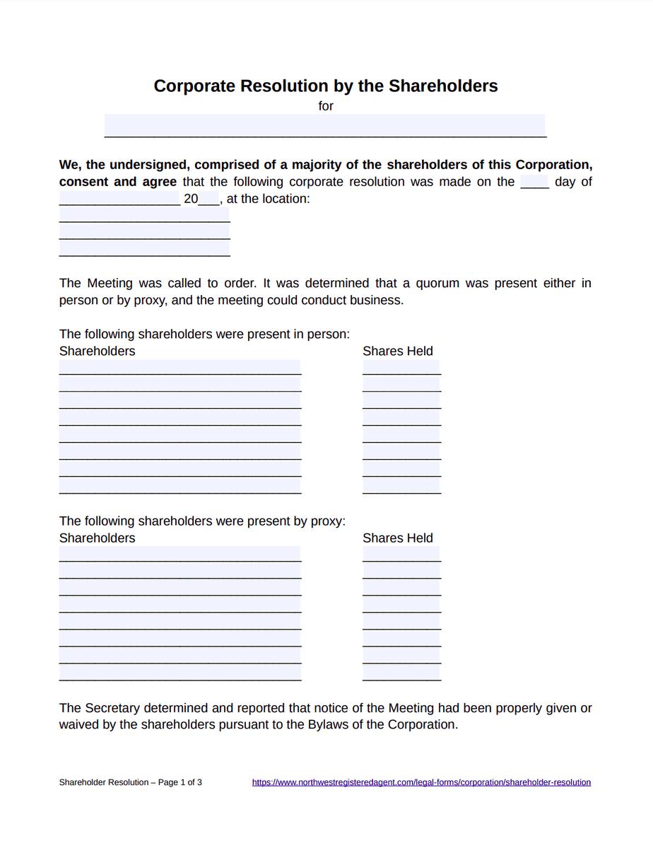 Shareholder Resolution Template - Free Download